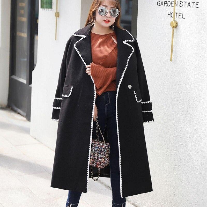 Gro Gre Korean Rosaschwarz Windjacke Wollmantel Herbst Jacke Rosa Weich Frauen Gerade Winter Kg Frauen Lange 2019 100 e Mantel bf76Ygy