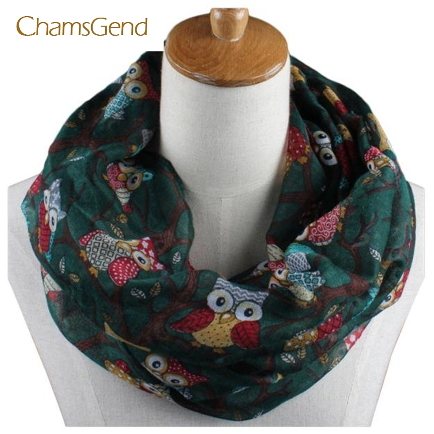CHAMSGEND 2017 beautiful Elegant Women Ladies Owl Pattern Print Scarf Warm Wrap Shawl May04