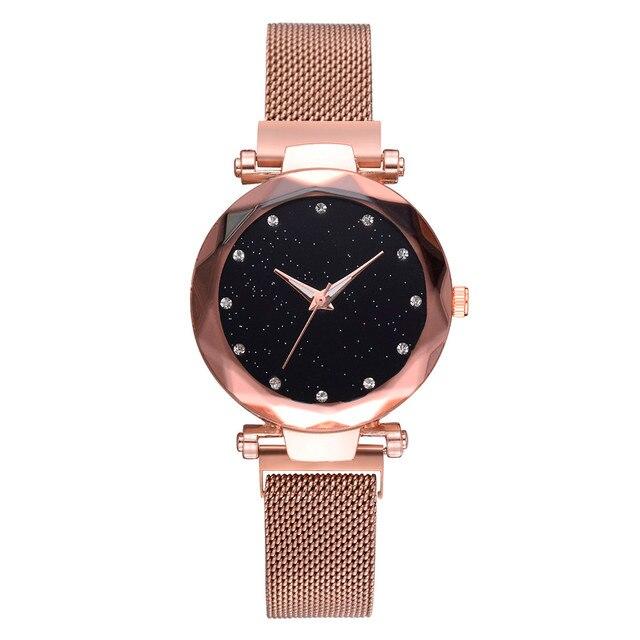 59082250c6d Malha de Aço Inoxidável de luxo Senhoras Relógio de Moda Feminina de Pulso  de Quartzo Relógio