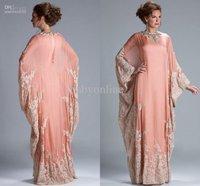 free shipping 2016 Custom Hot Sale Floor Length Lace Appliqued abaya in dubai Kaftan Mother of the Bride Dresses Muslim dress