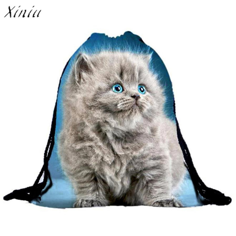 Unisex Cat Backpacks 3D Printing Bags Drawstring Backpack Travel Softback Men Women Bag mochila School Boys Girls Backpacks manga larga en vestido de promocion