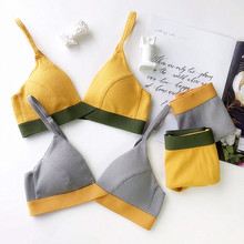 Wriufred Ribbed Cotton Contrast Color Bra Set Comfortable Wire Free Underwear Soft Triangle Cup Lingerie Sets Large Size Bras