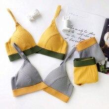 Wriufred com nervuras de algodão contraste cor conjunto sutiã confortável fio livre roupa interior triângulo macio copo lingerie conjuntos tamanho grande sutiãs