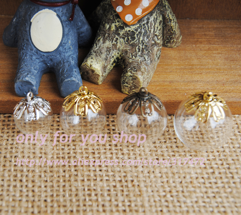 2019 Fashion 14/16/18/20/25mmglass Bubble Globe &10mm Flower Beads Cap Diy Glass Vial Pendant Glass Wish Jewelry Pendant
