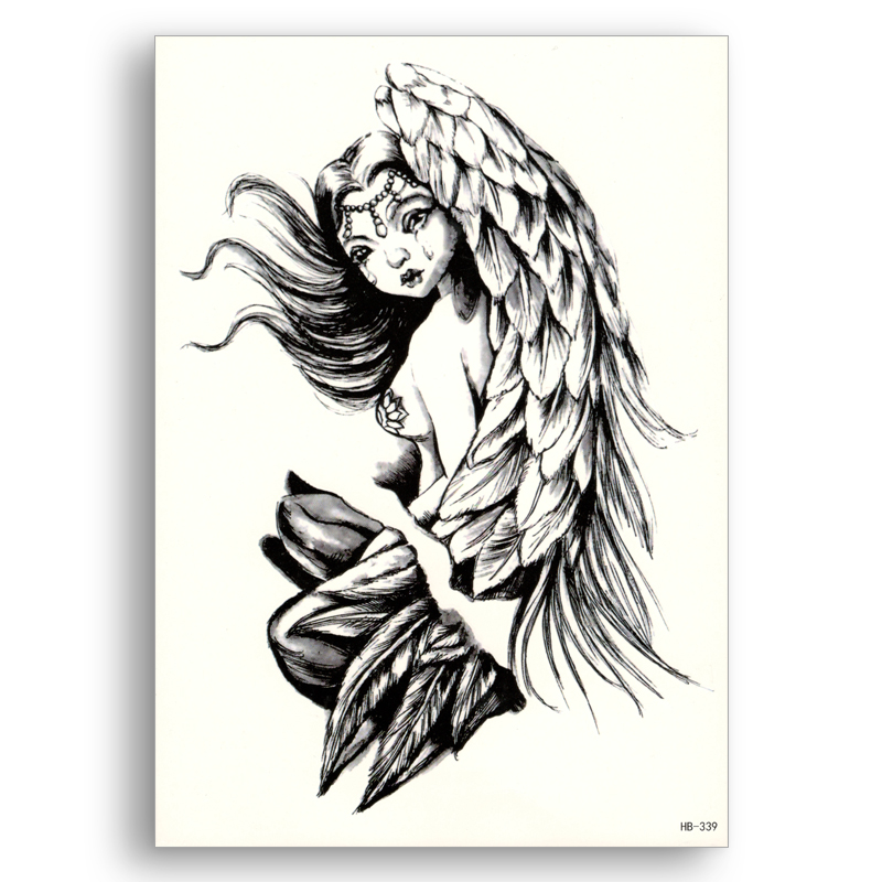 1 Piece Temporary Tattoo Sticker Water Transfer Wing: Fake Temporary Tattoo Waterproof Water Transfer Girl Wings
