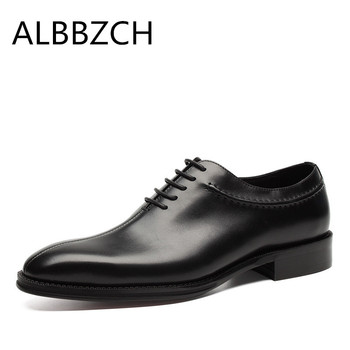 New men's fashion oxfords lace up genuine leather dress shoes men wedding shoes high quality business office work shoes size 44