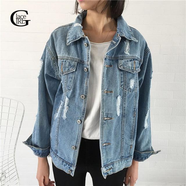 1dad157d4b4e Dentelle Fille Jeans Veste Casacos Feminino Slim Déchiré Trous Denim Vestes  Élégant Vintage Bomber Veste 2018