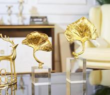 European style furnishing ornament crystal copper lotus leaf modern simple creative living room porch handicraft decoration.