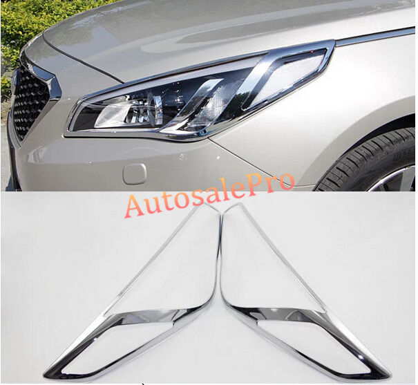 5pcsChrome Front Head Light + Rear Tail Light Lamp Frame Cover Trim for Hyundai Sonata (LF) 2015