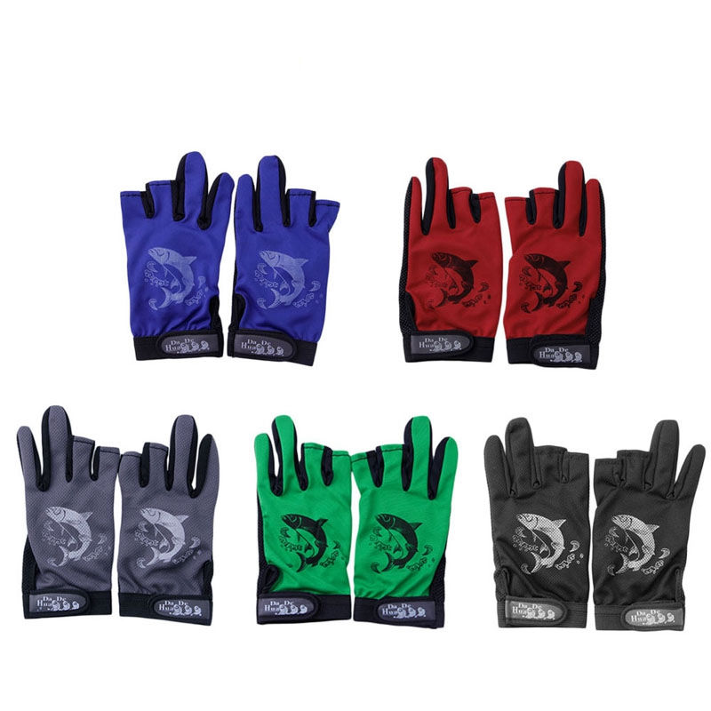 1Pair Waterproof 3 Cut Finger Libisemiskindel kalapüügivarda kindad Outdoor Sport Fishing Accessories