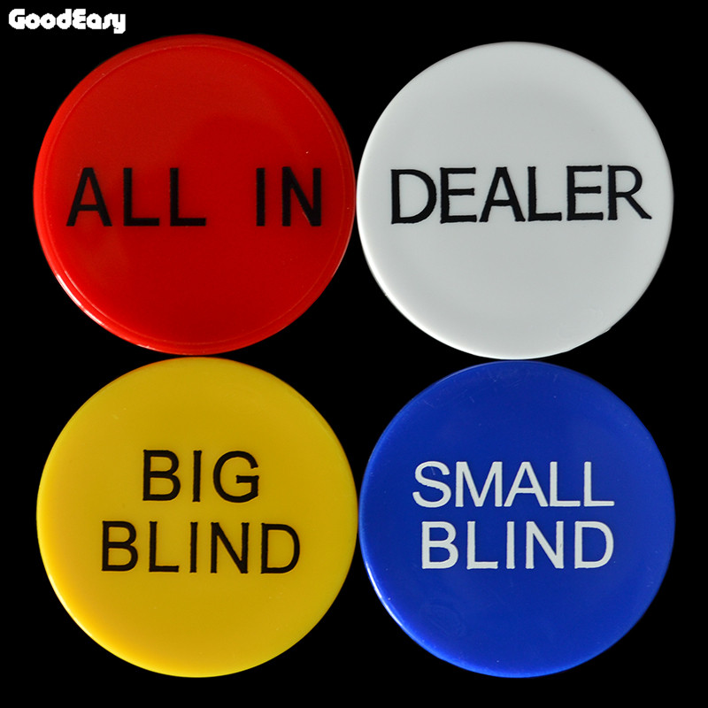 HOT SALE 4PCS/SET Melamine Round Plastic Dealer Coins SMALL BLIND/BIG BLIND/DEALER/All IN Texas Poker Chip Set Coin Buttons Game
