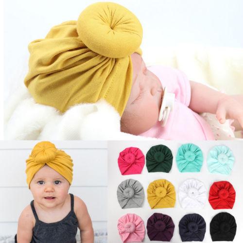 Cute Kids Toddler Turban Knot Rabbit Ear Hat Baby Girls Bow Bunny Ear Cotton Cap