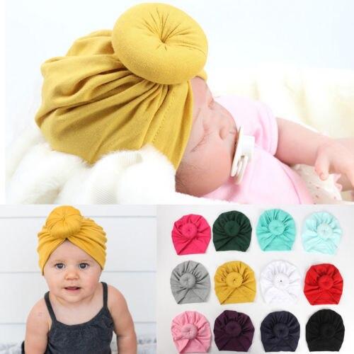 12 renk Yürümeye Başlayan Bebek Bebek Çocuk Pamuk Türban Düğüm Tavşan Kulak Şapka Başkanı Wrap Kafa Bandı Sevimli Katı Aksesuarları