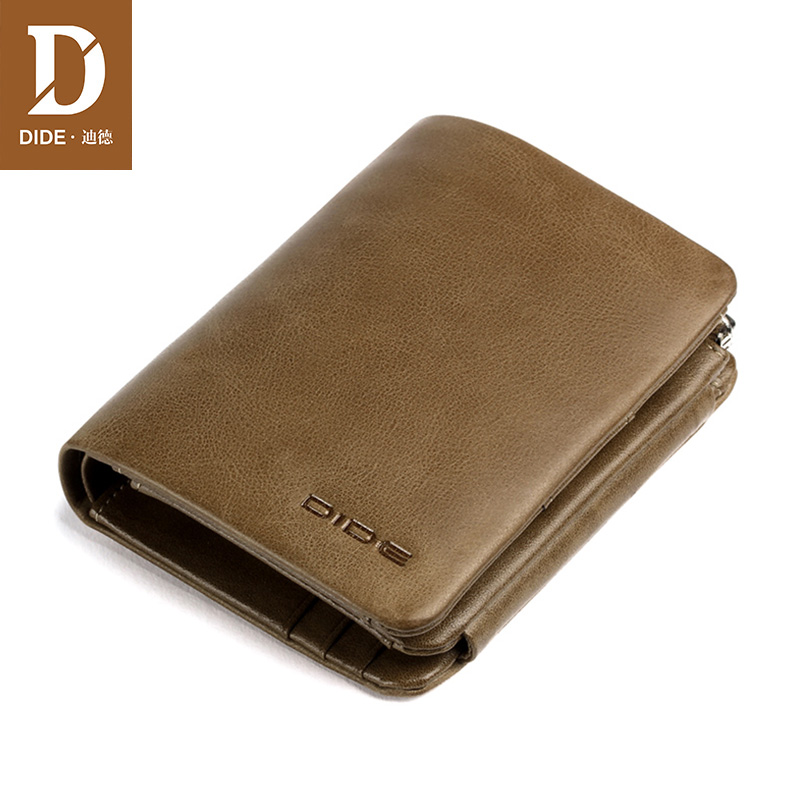 DIDE Wallets Male Summer-Style Purse Card-Holder Vintage Small Genuine-Leather Men Casual