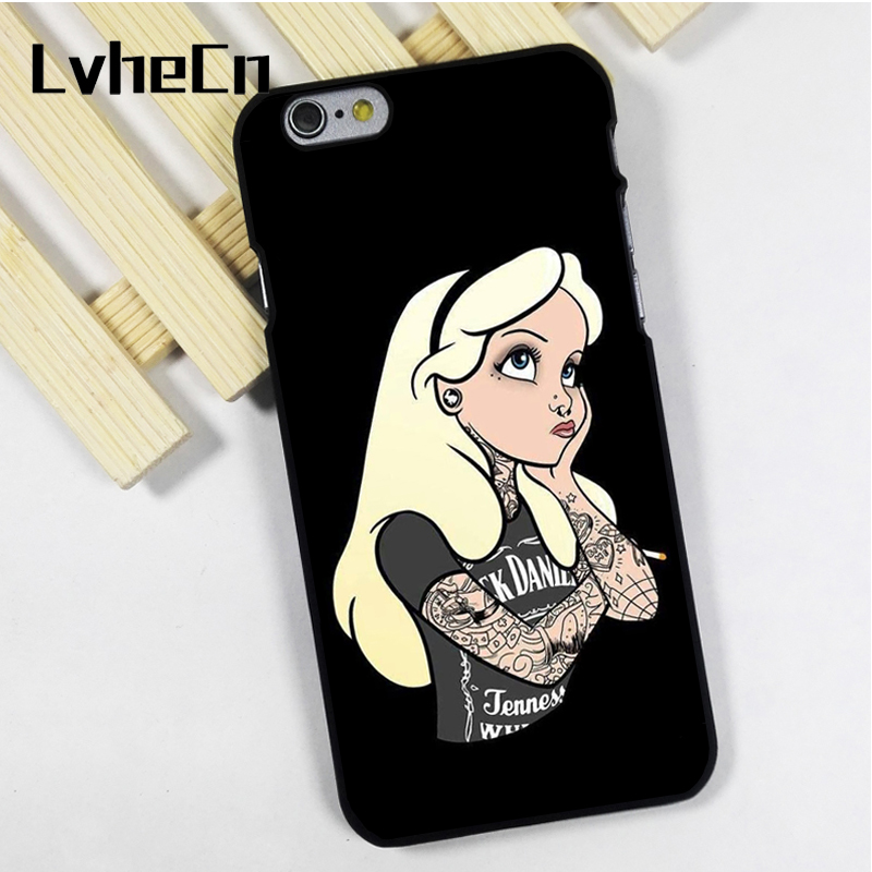 LvheCn phone case cover fit for iPhone 4 4s 5 5s 5c SE 6 6s 7 8 plus X ipod touch 4 5 6 back skins alice in wonderland tattoo