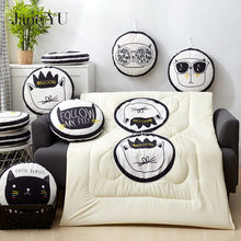 JaneYU Manufacture Summer Quilt Blanket  Bolster+Blanket Double Uses Cushion Good Quality Pillow