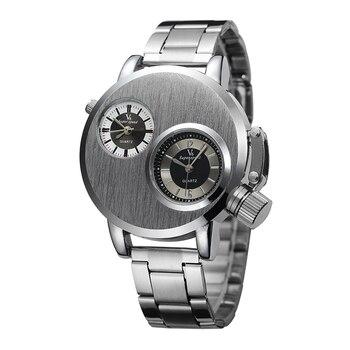 c0410c7ddcbb V6 dos zona horaria plata relojes acero hombres deportes cuarzo horas diseño  de lujo único hombres reloj de pulsera relogio masculino