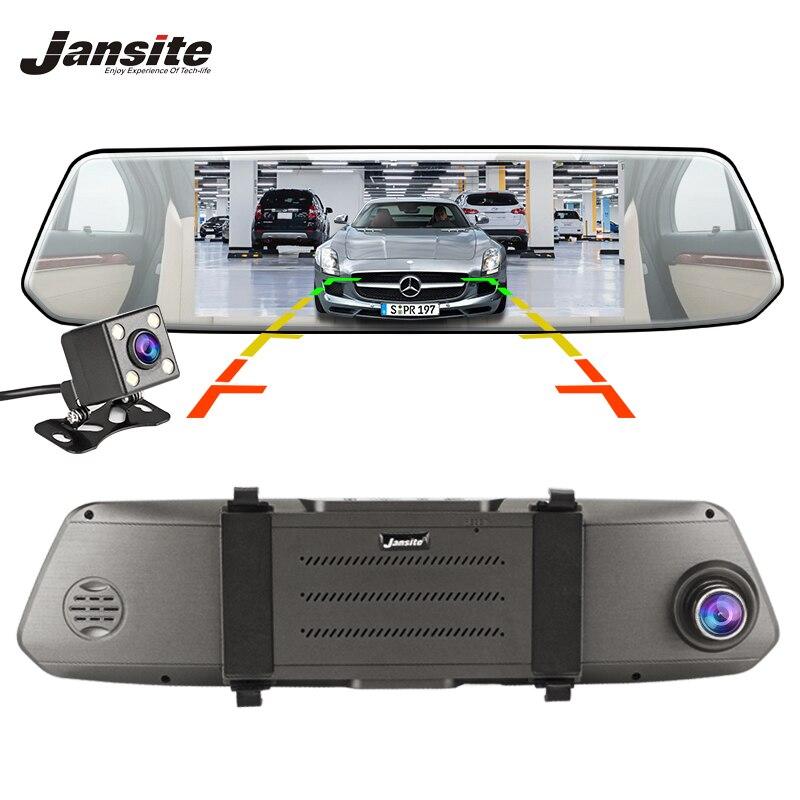 Jansite Dash Cam 7 дюймов сенсорный экран автомобиля dvr двойной объектив камера Супер ночное видение зеркало заднего вида видео регистраторы авто к...
