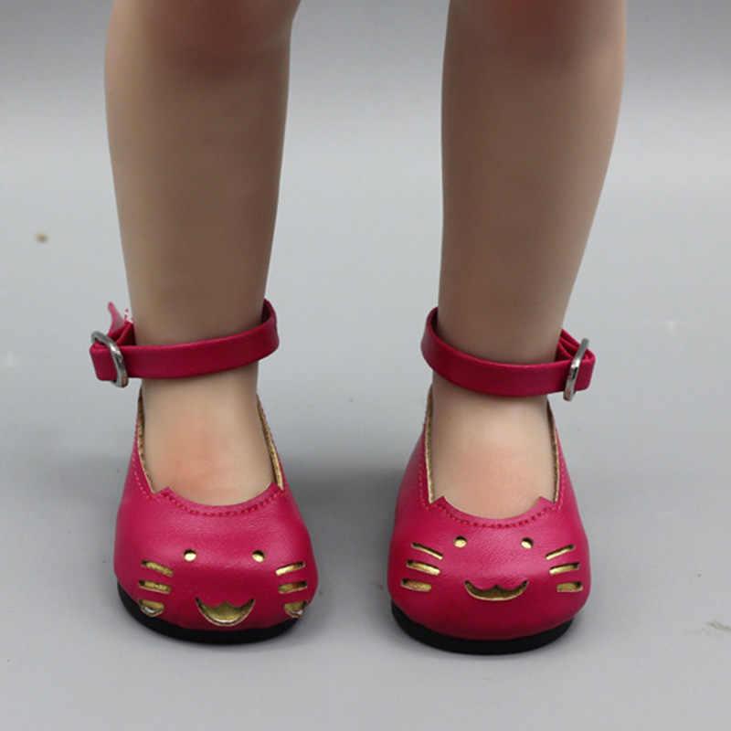 Zapatos de cuero de moda para 18 pulgadas muñeca 43CM muñecas Baby Doll DIY zapatos para 40 cm 38 cm baby Doll niña Botas Color dorado al azar
