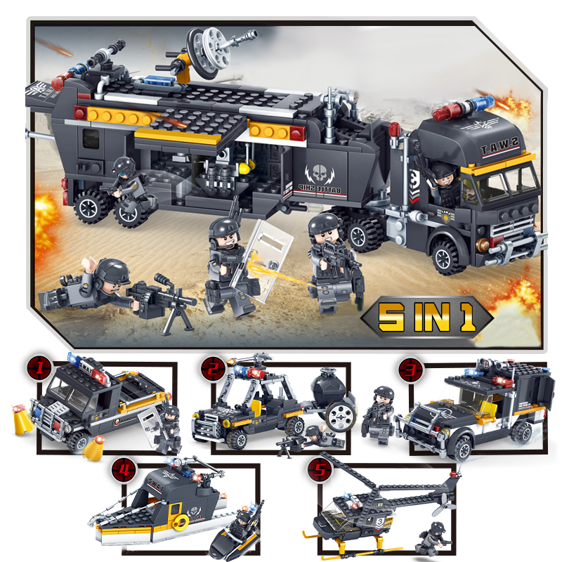693Pcs 5 IN 1 SWAT Team Command Vehicle Car DIY Model Building Blocks Bricks Compatible With Legoe City Police Toys For Children military city police swat team army soldiers with weapons ww2 building blocks toys for children gift