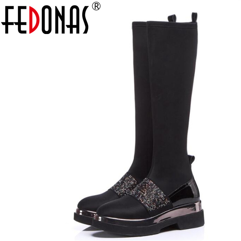FEDONAS 1Fashion Women Knee High Boots Autumn Winter Warm High Heels Shoes Round Toe Bling Quality Party Prom Dancing High Boots fedonas 1new women mid calf boots autumn winter warm high heels shoes woman pointed toe elegant bling party prom dancing pumps