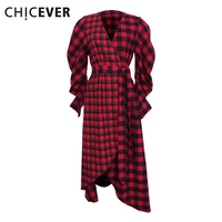 CHICEVER 2017 Spring Classical Plaid Long Sleeve V Collar With Belt Lace Up High Waisted Shirt