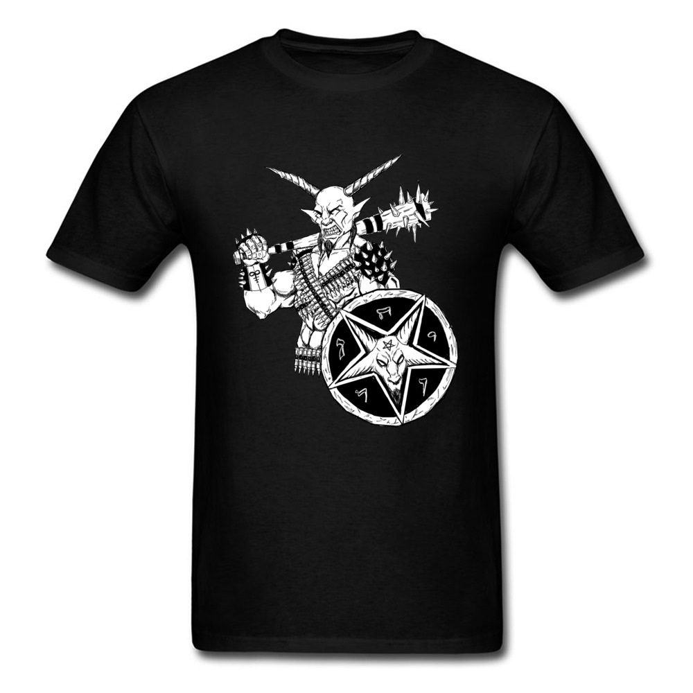 Retro Style Goat Lord Warrior Printed Man O-neck Short Sleeve Cotton T-shirt Group Tee Shirts Cartoon Design