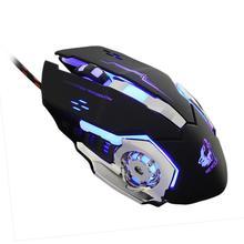 2017 Good Sale Wired LED Light 4000DPI Optical Usb Ergonomic Pro Gamer Gaming Mouse Metal Plate J8