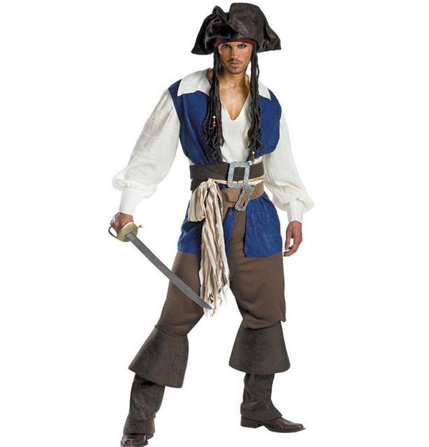 2016 Cosplay Halloween Costumes Deguisement Homme Belts+Belts+Hats+Vest+White Tops+Pants+Foot Sets Pirate Costume For Man WL116