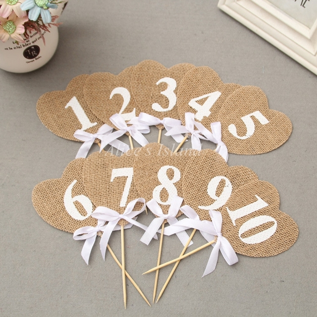 1 set Wedding Table Cards Jute Burlap Reception Table Card with lace