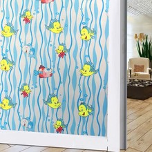 Stained window sticker Color fish Frosted glass film toning Self-adhesive Decorative vinyl decoration 60*200cm