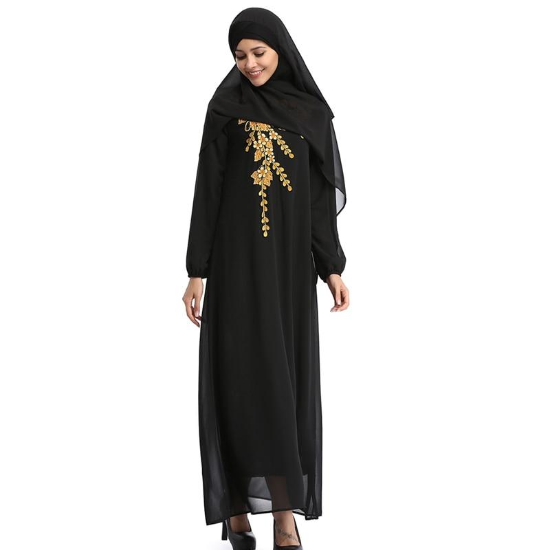 Arabe islamique femmes Robe à manches longues broderie Maxi musulman vêtements caftan Dubai turquie maille robes Robe