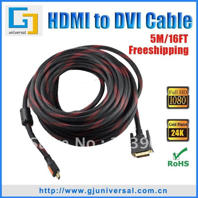 Free Shipping 5M 16FT HDMI to DVI 24+1 PIN Video Cable, DVI-HDMI M/M Cable,For HD PC LCD TV HDTV DVD,HDMI065-5