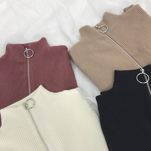 Zipper Turtleneck Solid Women Sweater Skinny Elastic Knitted Full Sleeve PulloverJumper Quality