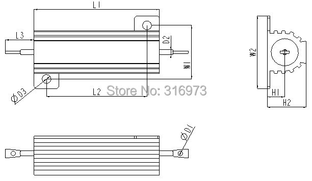 (20 pcs/lot) 0.47 OHM 25W Wirewound Aluminum Housed Resistor, 25 Watts.