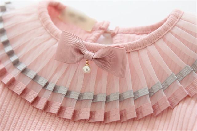 White school girls blouse spring autumn kids shirt long seelve toddler blouses cozy tops children clothes 2-6Yrs