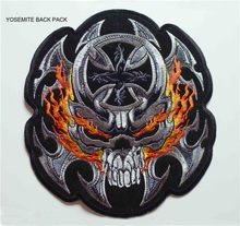 ad15429952904 Big size Fire Skull Back Patches Embroidered Motorcycle MC Biker Patches  Iron-on sew-on motor racing rider for vest Jackets