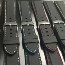 18/20/22/24mm Soft Rubber Silicone Watchbands Diver Watch Band with Quick Release Spring Bars Strap Black Blue Red Orange