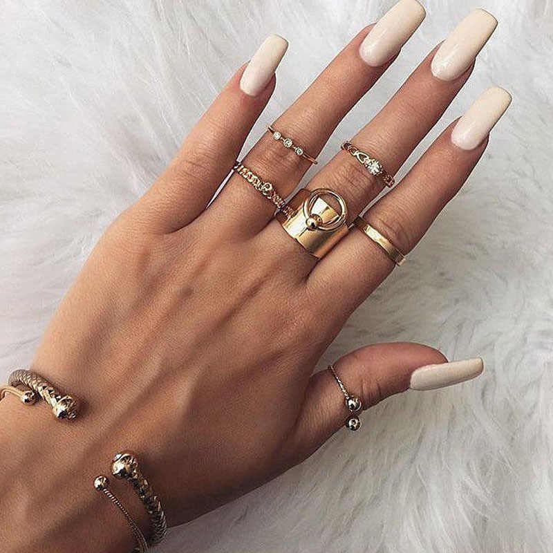 Popular Personality Fashion New Women's Pattern Combination Ring Set Love Wedding Rings Lord Of The Rings  Bijoux