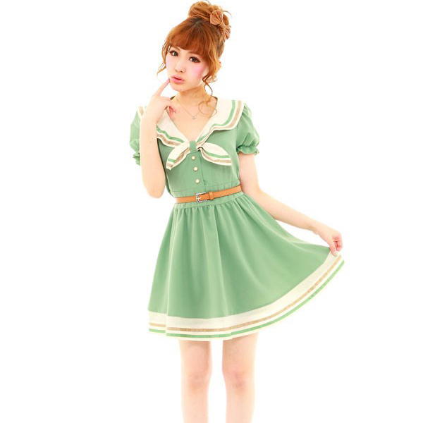 3ad54925c1 Dresses Real Free Shipping 2014 New Fashion College Style Summer Dress  Women s Clothing Japanese Schoolgirl Uniforms Sailor Navy -in Dresses from  Women s ...