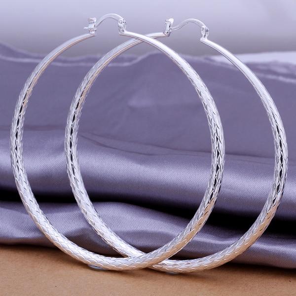 Hot 925 stering silver jewelry silver hoop earrings fashion women  findings big round fish scale hoop earrings CE289