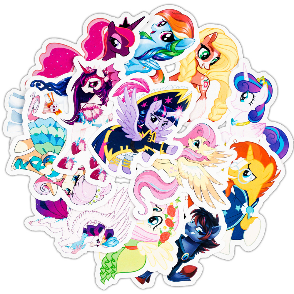 31PCS Cute Cartoon Sticker Set For Children Travel Case Bicycle Fridge Laptop Kid Toy Anime Stickers Little Pony Sticker