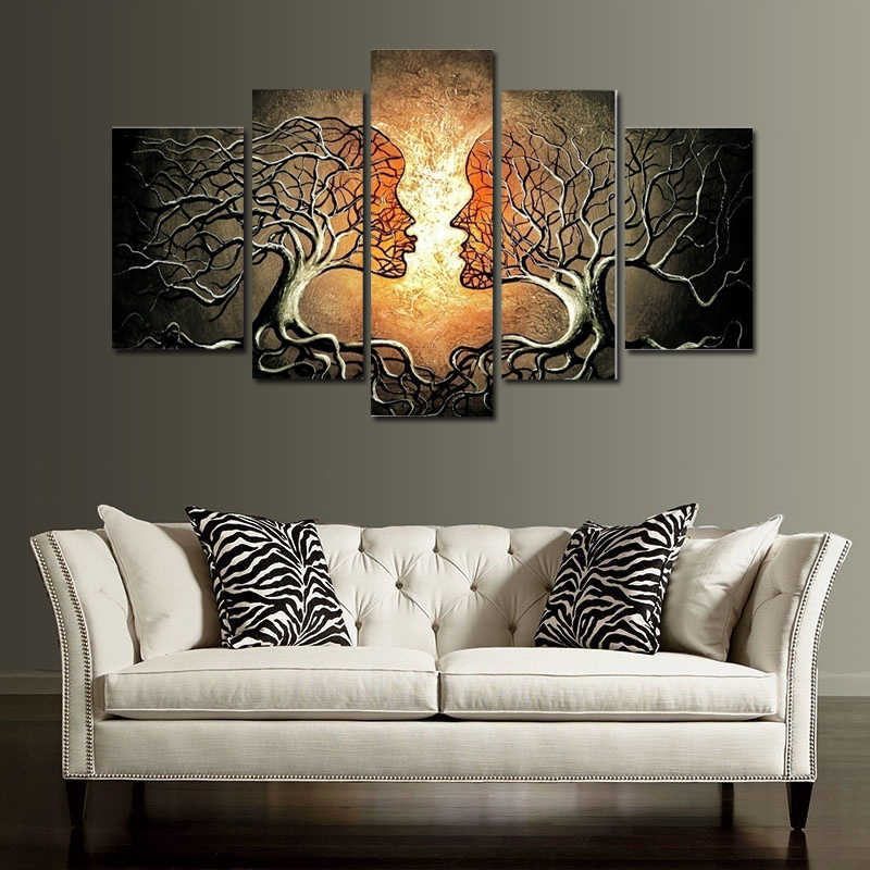 Modern 5 Panels Love Kiss Lady Tree Home Wall Art Canvas Painting for Living Room Bedroom artwork