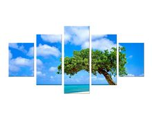 5 Pieces sea view beach Big trees printed on canvas decorated art wall painting living room decoration painting Framed(China)