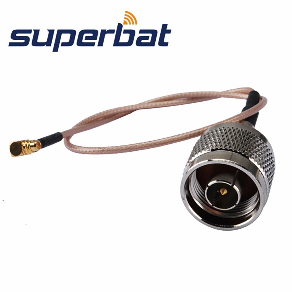 Superbat MMCX Right Angle Plug  To N Straight Plug Pigtail Cable Antenna Feeder Cable Assembly RG316 30cm