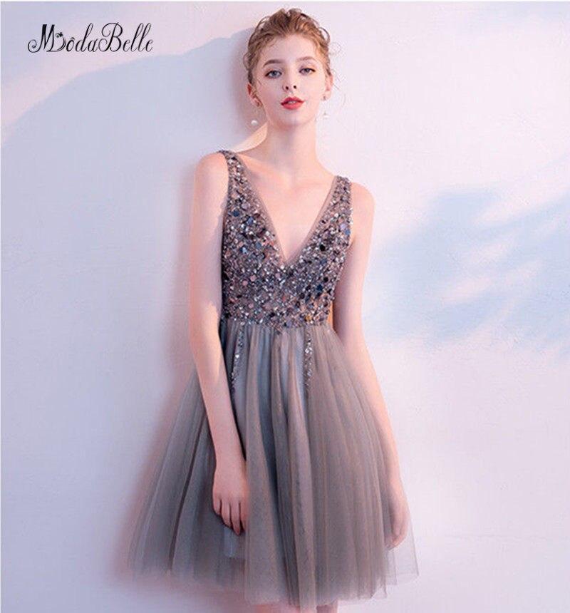 48509d252f8 modabelle Robe Soiree Fille Short Gray V-neck Prom Dresses 2018 A-line  Beadings