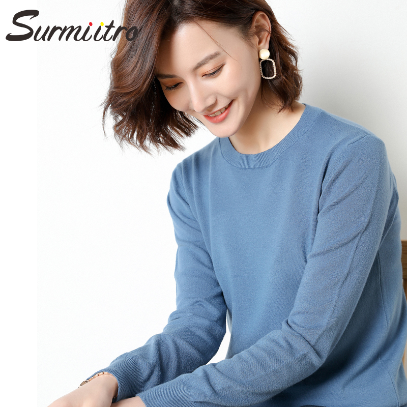Surmiitro 15 Colors Casual Knitted Autumn Winter Sweater Women 2019 Fashion Korean Ladies Solid Tricot Jumper Pullover Female