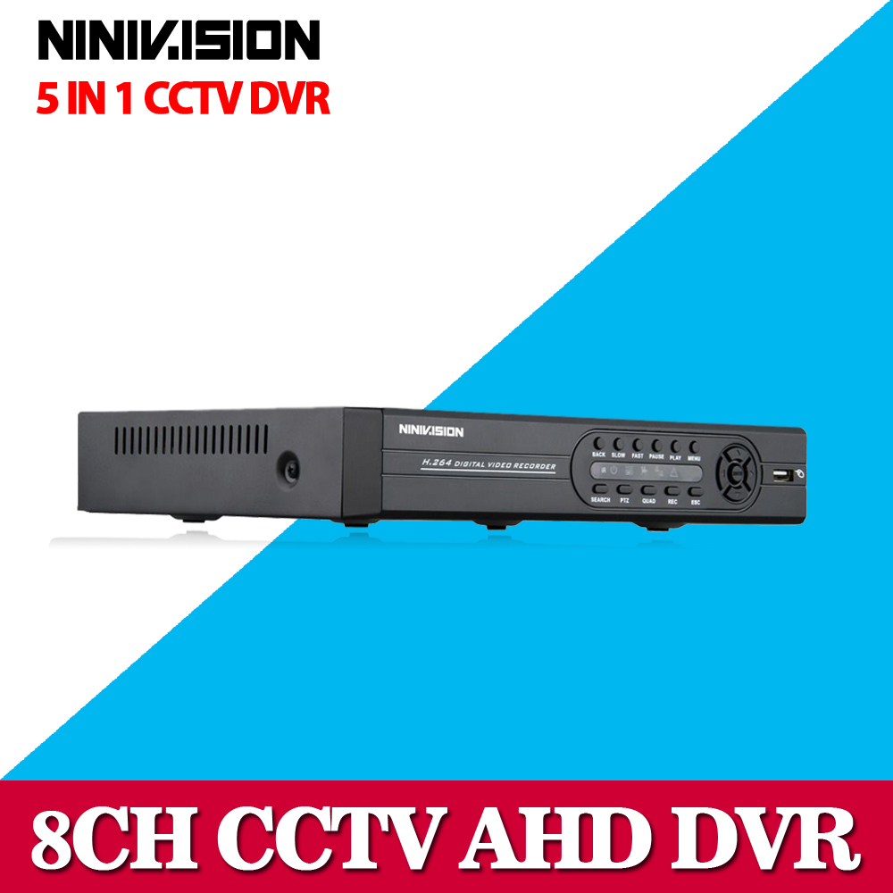 ФОТО NINIVISION 8CH AHD 1080P DVR Hybrid DVR/1080P NVR Video Recorder AHD DVR For AHD/Analog Camera IP Camera TVI Camera CVI Camera