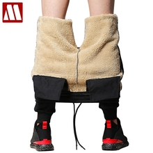 2020 inverno mais cashmere veludo engrossar calças dos homens casual basculador de pele quente sweatpants velo elástico cintura calças faixa