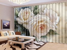 Customized Modern 3D Floral Curtain Three Creamy White Roses Style Practical Curtains